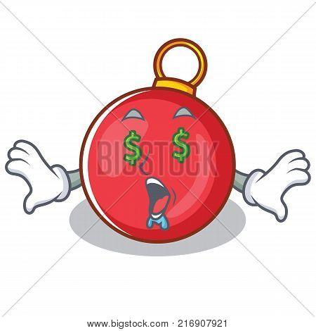 Money eye Christmas ball character cartoon vector illustration