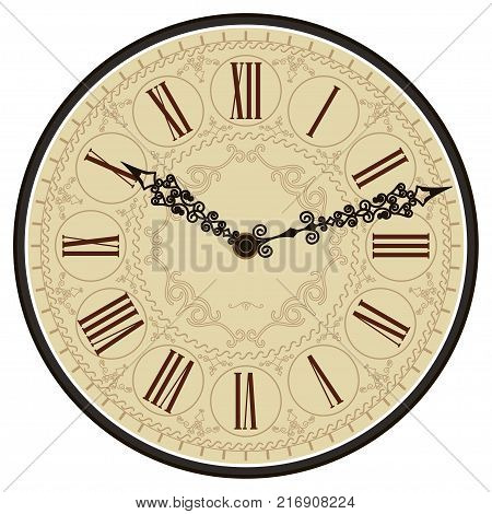 Antique old clock face. Old Vintage Retro dial with roman numbers. Vector