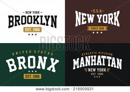 Set Typography NYC of prints for t-shirt graphic, vector image