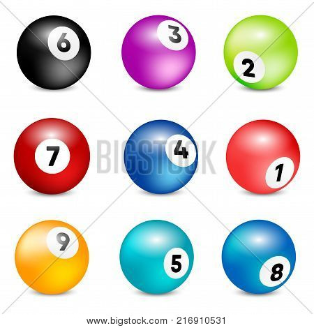 Bingo lottery balls. Vector lottery number balls set colorful. Vector illustration.