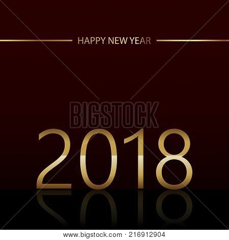 Happy New Year background with glowing lights text on black background. Vector.