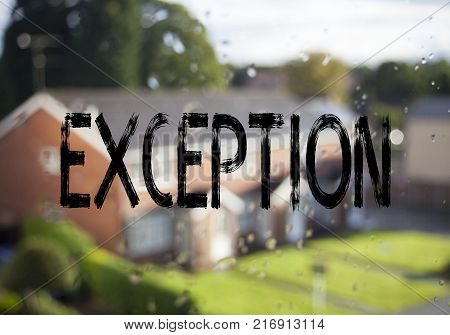 Announcement text caption showing Exception. Business concept for Exceptional Exception Management,  written on old brick background with space