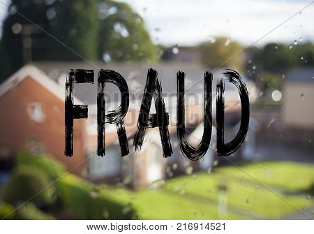 Announcement text caption showing Fraud. Business concept for Fraud Crime Business Scam written on old brick background with space
