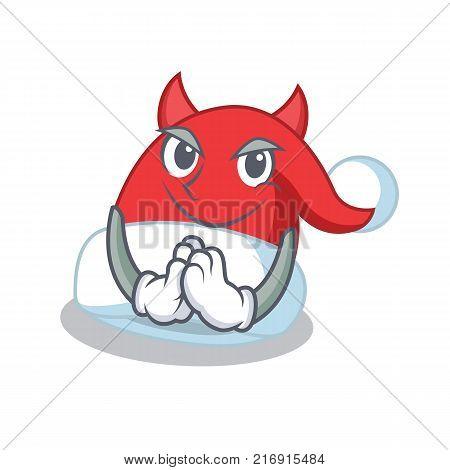 Devil Christmas hat character cartoon vector illustration