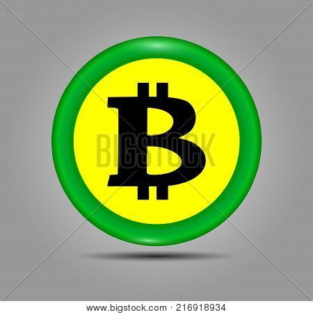Green Bitcoin sign icon for internet money. Crypto currency symbol and coin image for using in web projects or mobile applications sticker for print. Vector illustration