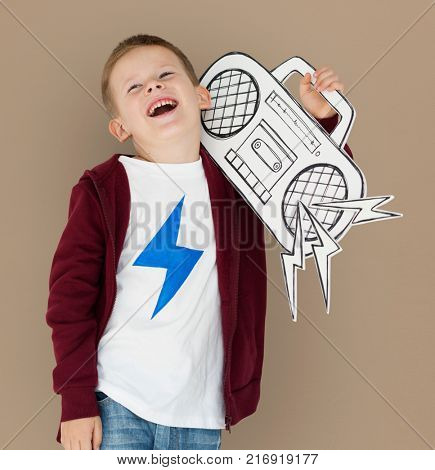 Caucasian Little Boy Holding Jukebox