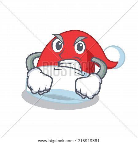 Angry Christmas hat character cartoon vector illustration
