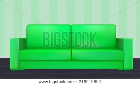 Green modern luxury sofa for living room, reception or lounge. Realistic icon of single object in room on background of wallpaper with stripes, 3D illustration