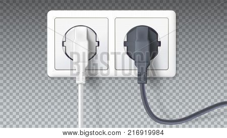 Realistic black and white plugs inserted in electrical outlet, isolated on transparent. Icon of device for connecting electrical appliances, equipment. Electric plugs in socket. 3D illustration.