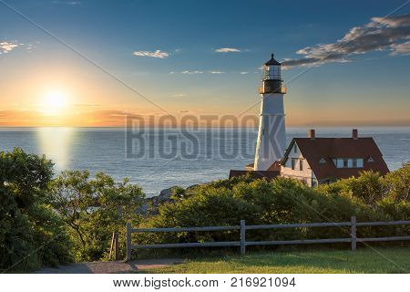 Portland Head Lighthouse at sunrise in Cape Elizabeth, Maine, USA. One Of The Most Beautiful Lighthouses.