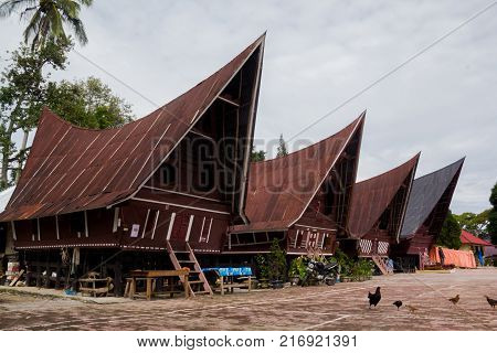 SUMATRA, INDONESIA - 16 SEPTEMBE 2017 : Ethnic traditional Batak House in Toba Lake of Sumatra Indonesia. Batak stands for the ethnic people living in the northern part of Sumatra Island of Indonesia.
