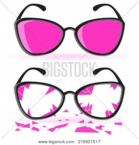 Broken Glasses. Ruined Into Small Sharp Pieces. Concept For Your Design. Pink Glasses With Black Frames Isolated On White Background. Place For Text. Vector Illustration