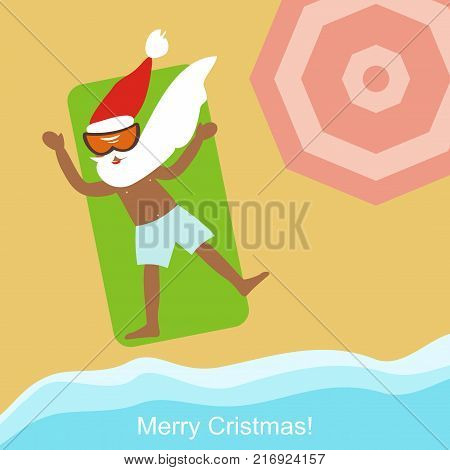 Cool dark-skinned Santa Claus sunbathes on the beach. top view. Happy New Year and Merry Christmas! Greeting card. Vector illustration.