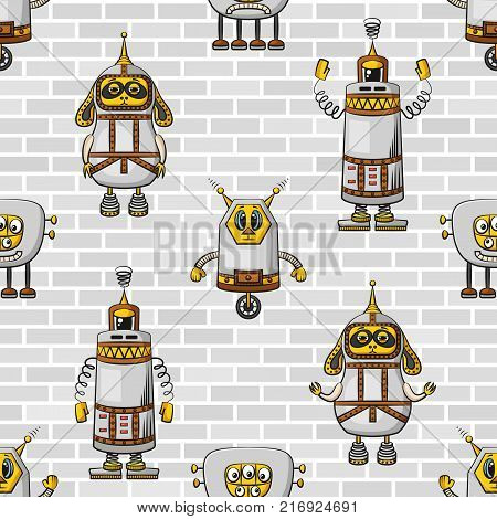 Seamless Background for Your Design with Different Cartoon Robots on Steel Grey Wall, Tile Pattern with Cute Funny Characters. Vector