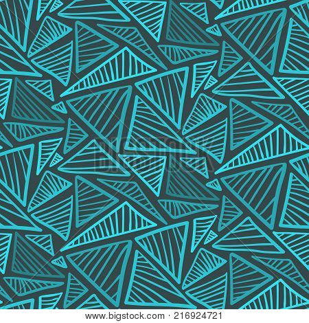 Doodle seamless pattern with cold blue scribble triangles. Abstract fashion trendy vector texture with hand drawn shapes for textile wrapping paper cover surface background wallpaper