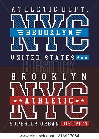 Typography NYC Brooklyn for t-shirt graphic vector image