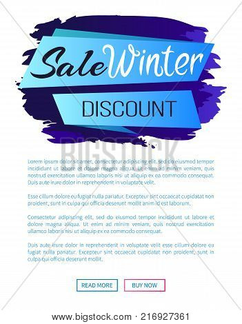 Sale winter discount inscription on blue ribbon on abstract brush strokes backdrop vector illustration internet page design with place for text