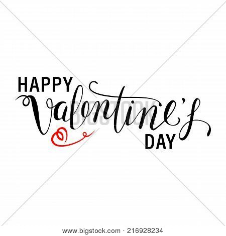 Happy Valentine's Day Tittles. Text For Your Design. Multicolor Background. White Vintage Hipster Text. Valentines Day Vector Illustrations And Typography Elements.