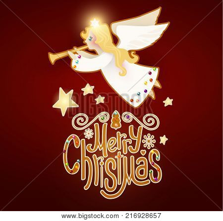 Merry Christmas Cute Background with Angel Playing the Trumpet, Christmas Candy Lettering, Snow and Lights.