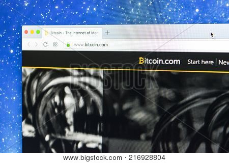 Sankt-Petersburg Russia December 5 2017: The Bitcoin.com homepage official website on Apple iMac monitor screen. Bitcoin is the worldwide digital currency and payment system
