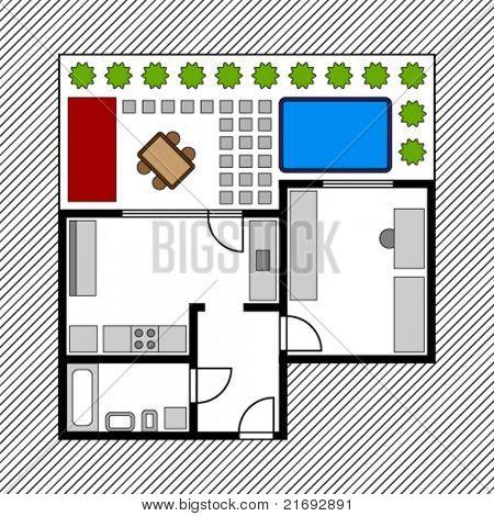 vector house floor plan with garden