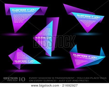 Origami triangle style speech Banner with glow effect. All lights are transparent, ready to copy and paste on every surface.