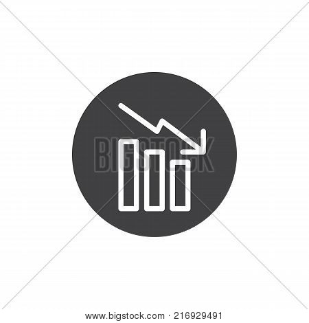 Decrease graph icon vector, filled flat sign, solid pictogram isolated on white. Business bar chart symbol, logo illustration.