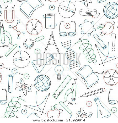 Seamless pattern on the theme of science and inventions diagrams charts and equipment simple contour icons drawn with colored markers on white background
