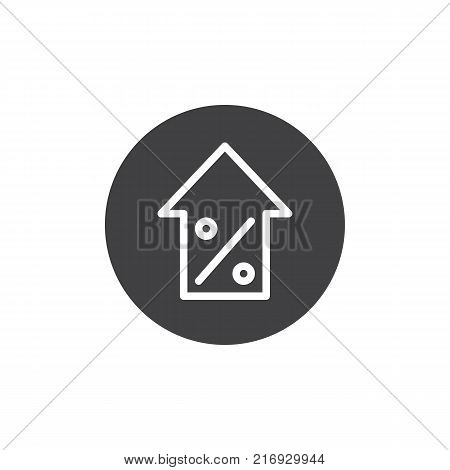 Percentage symbol with an arrow up icon vector, filled flat sign, solid pictogram isolated on white. Increasing percentage symbol, logo illustration.
