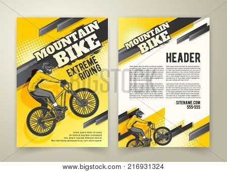 Vector flyer with ride on sports bicycle on yellow background, ad banners. Abstract poster of BMX competitions motocross template for promoting extreme mountain biking with cyclist and place for text
