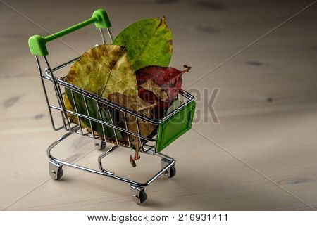 shopping cart with colorful autumn leaves inside, wooden background