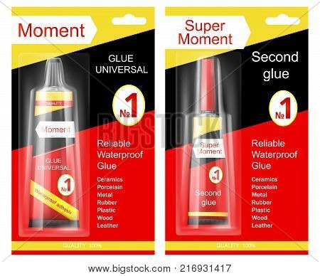 Colorful tube of super moment and moment glue in cardboard and plastic packaging with brand information realistic vector isolated. Original container and packaging of glue for instant gluing