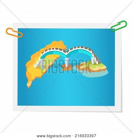 Taiwanese bridge on isolated picture on white. Vector colorful illustration in flat design of photograph with construction in round shape connecting two islands. Sightseeings in Taiwan concept poster