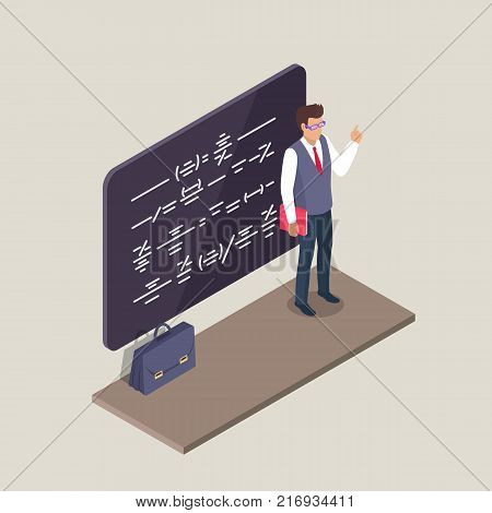 Neatly dressed male teacher standing in front of blackboard writing on it along with leather briefcase on floor isolated 3d vector illustration