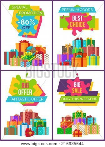Special promotion and best choice, big and fantastic offer only this weekend, posters with decorated presents vector illustration isolated on white