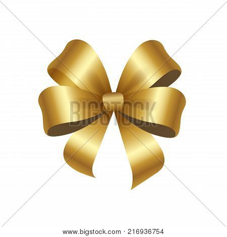 Present or gift elegant tied satin ribbon of gold in shape of bow. Gold decorative knot vector illustration isolated on white background.