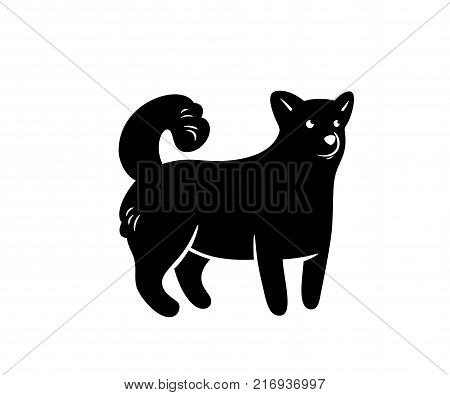 Vector silhouette of frendly dog, isolated on white.