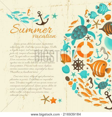 Summer vacation paper background in grunge style with marine icons and sea  inhabitants cartoon objects flat vector Illustration