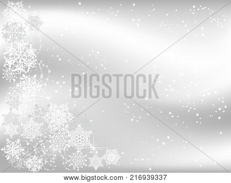 Grey Christmas background with white and grey snowflakes