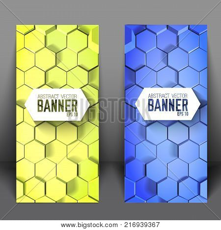 Geometric scientific vertical banners with blue and green 3d hexagons in mosaic style isolated vector illustration