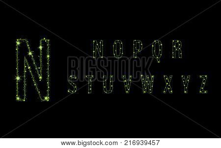 Alphabet Letters From Glittering Green Stars