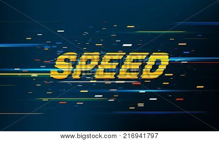 Speed Movement Pattern Background. Fast Technology Design concept. Colored Random particles. Glitch text effect. Vector Illustration.