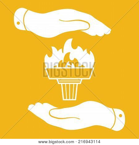 white torch icon with flame and flat hands on a yellow background