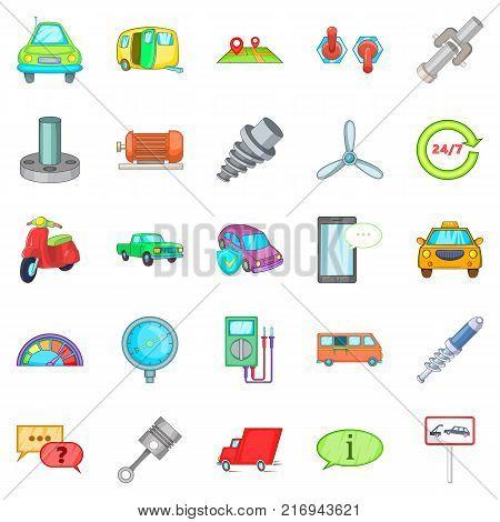 Car maintenance icons set. Cartoon set of 25 car maintenance vector icons for web isolated on white background