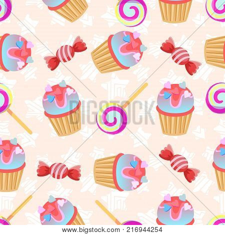 Seamless pink pattern Little delicious cupcake and candy.