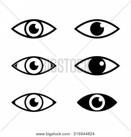 Human eye set. Eyeballs with pupils icon illustration