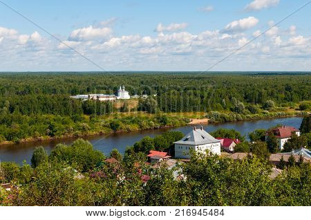 Summer aerial view of the Znamensky monastery, River Klyazma and Gorokhovets Russia.