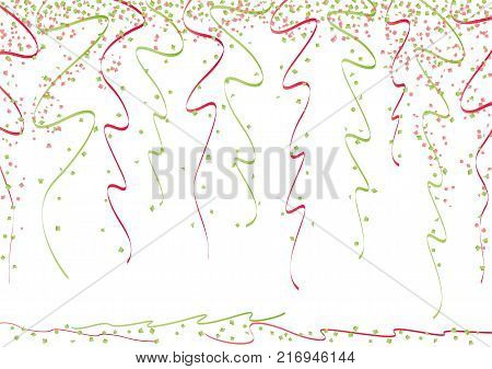 Gold Curly Ribbons And Bright Confetti