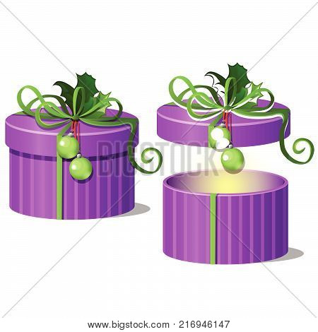 Set of ornate gift boxes purple color with lids tied with a green ribbon bow with leaves of Holly isolated on white background. Ideas of packing gifts. Vector cartoon close-up illustration.
