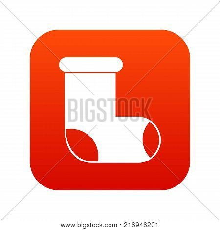 Felt boot icon digital red for any design isolated on white vector illustration